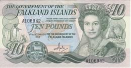 BILLETE DE FALKLAND ISLANDS DE 10 POUNDS DEL AÑO 1986 (BANKNOTE) - Islas Malvinas