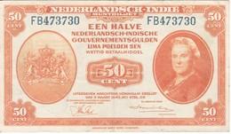 BILLETE DE NEDERLANDSCH INDIE DE 50 CENT DEL AÑO 1943  (BANKNOTE) - Indes Neerlandesas