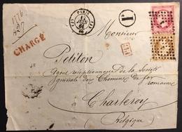DEVANT De Lettre 1862 Napoléon III N°13 & 17,chargé Tarif 90c De Paris Pour La Belgique , Timbres OK ! - 1853-1860 Napoléon III