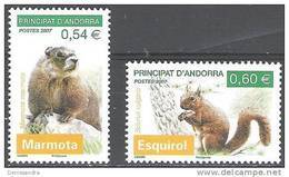 Andorre Français 2007 Yvert 634 - 635 Neuf ** Cote (2015) 4.30 Euro Animaux Marmotte Ecureuil - Andorre Français