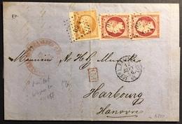 LETTRE 1862 Napoléon III N°13 & 17x2, Tarif 1fr70 Sur LAC De Paris Pour Hambourg  (2e Choix) - 1853-1860 Napoléon III
