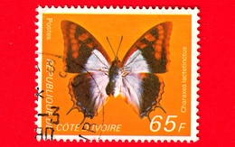 COSTA D'AVORIO - Usato - 1978 - Farfalle - Blue Patch Charaxes (Charaxes Lactetinctus) - 65 - Costa D'Avorio (1960-...)