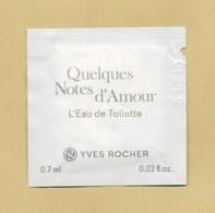 POCHETTE ECHANTILLON SACHET POCKET QUELQUES NOTES D'AMOUR EDT * YVES ROCHER - Perfume Cards