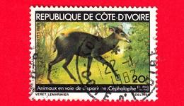 COSTA D'AVORIO - Usato - 1979 - Animali In Pericolo Di Estinzione - Antilopi  - Yellow-backed Duiker - 20 - Costa D'Avorio (1960-...)