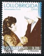 2007 - SAN MARINO - GINA LOLLOBRIGIDA CON MADRE TERESA / GINA LOLLOBRIGIDA WITH MOTHER TERESA - USATO/USED - Usati