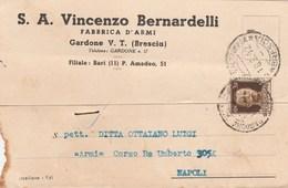 7698.   Cartolina Commerciale - Ditta Bernardelli Fabbrica D'armi Gardone Val Trompia Brescia Per Napoli 1942 - Commercio