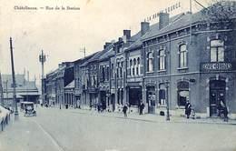 Châtelineau - Rue De La Station (animée, Café Bruges, Oldtimer, Edit. Matelart 1928) - Châtelet