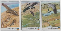 ISRAEL 2002 BIRDS OF THE RIFT VALLEY BLACK STORK COMMON CRANE GOLDEN EAGLE SET OF 3 CARDS - Israel