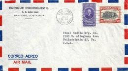 "Airmail Brief  ""Rodriguez, San José"" - Philadelphia           1950 - Costa Rica"