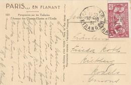 N° 244 Sur Carte De Paris Du 10/10/1934 TAD Paris étranger - Postmark Collection (Covers)