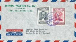 "Airmail Brief  ""Central Trading Co.Ltd., San José"" - London           1958 - Costa Rica"