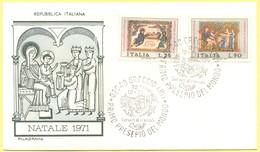 Italia Repubblica - 1971 - Natale - FDC Filagrano - Greccio - 6. 1946-.. Repubblica