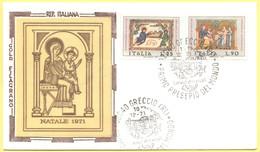 Italia Repubblica - 1971 - Natale - FDC Filagrano Gold In Seta - Greccio - 6. 1946-.. Repubblica