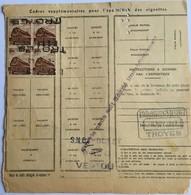 France Colis Postaux De 10 à 15 Kilos YT 187 X4 (°) 1f Brun, Bulletin D'expédition Novembre 1943 Troyes à Vertou – 371 - Storia Postale
