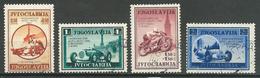Yougoslavie YT N°349/352 Course D'automobiles Et Motos à Belgrade Oblitéré ° - 1931-1941 Royaume De Yougoslavie