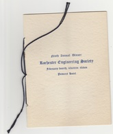 Vintage 1911 Rochester Engineering Society Annual Dinner Menu  Music & Toast & Members List At Powers Hotel - Menus