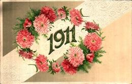 4 - Année Date Millesime - 1911 - Fleurs Gaufré - Anno Nuovo