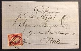 FRANCE Napoléon III 1853 N°17A Sur Lettre 80c Oblitéré Du Losange PC2217 De Nancy Pour Paris 1e Choix - 1853-1860 Napoléon III