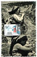 MAX CP ENFANTS ANDORRANS  AVEC CP VHT 1955 - Andorra
