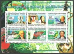 GUINEA 2009 CHARLES DARWIN BIRDS MONKEYS FISH GOETHE M/SHEET MNH - Guinea (1958-...)