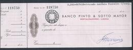 Check Of Banco Pinto & Sotto Mayor, Lisbon, Used 1960.Chèque Bancaire.Bankcheque.Bankscheck. Check Stamp $10. - Cheques & Traverler's Cheques