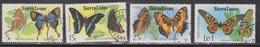 SIERRA LEONE Scott # 447-50 Used - Butterflies - Sierra Leone (1961-...)