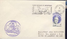 TAAF LETTRE  DU 13/01/89  AVEC DALLAY N°136 - Storia Postale