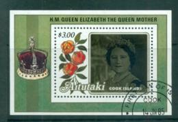 Aitutaki 1985 Queen Mother 85th Birthday $3 MS FU Lot70878 - Aitutaki