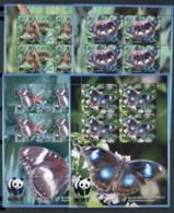 Aitutaki 2008 WWF Blue Moon Butterfly 4x MS MUH - Aitutaki