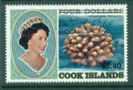 Cook Is 1987 QEII , Corals $4 Surcharge Opt. $6.40 MUH - Cook Islands