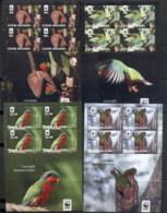 Cook Is 2010 WWF Rimatara Lorikeet, Bird 4x MS MUH - Cook Islands
