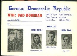 RA884 QSL BAD DOBERAN , GERMAN DEMOCRATIC REPUBLIC - Carte QSL