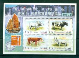 Fiji 1997 Cattle, Hong Kong 97 MS MUH Lot54448 - Fiji (1970-...)