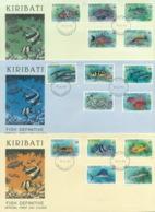 Kiribati 1990 Fish Definitives 3x FDC Lot70953 - Kiribati (1979-...)