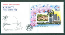 Kiribati 1995 New Year Of The Pig, Singapore MS FDC Lot70965 - Kiribati (1979-...)