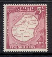 Nauru 1954 Pictorial, Map 5/- MUH - Nauru
