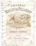 Etiket Etiquette - Vin - Wijn - Bordeaux Supérieur - Chateau Moulin De Pillardot - 2000 - Bordeaux