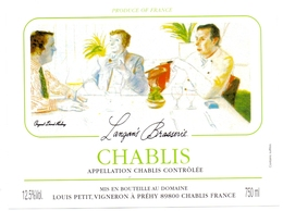 Etiket Etiquette - Vin - Wijn - Chablis - Langan's Brasserie à Préhy - Bourgogne