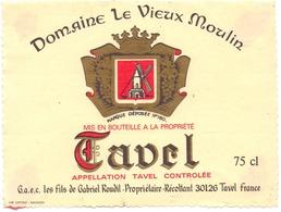 Etiket Etiquette - Vin - Wijn - Domaine Le Vieux Moulin - Tavel - Etiquettes