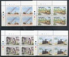 Nauru 1985 Phosphate Corp, Train, Truck Blks4 MUH - Nauru