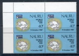 Nauru 1987 World Post Day, UPU Blk4 MUH - Nauru