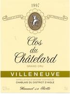 Etiket Etiquette - Vin - Wijn - Clos Du Chatelard - Villeneuve 1997 - Etiquettes