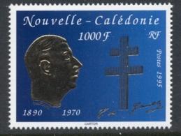 New Caledonia 1995 Charles De Gaulle Gold Embossed MUH - New Caledonia