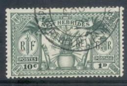 New Hebrides (Br) 1925 Native Idols, Dual Currency 10c/1d FU - English Legend
