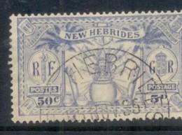 New Hebrides (Br) 1925 Native Idols, Dual Currency 50c/5d FU - English Legend