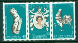 New Hebrides (Br) 1978 QEII Coronation 25th Anniv Str3 MUH - English Legend