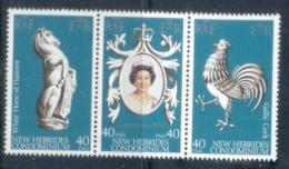 New Hebrides (Br) 1978 QEII Coronation 25th Anniversary Str3 MUH - English Legend