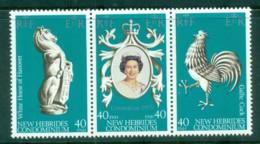 New Hebrides (Br) 1978 QEII Coronation, 25th Anniversary , Royalty Str 3 MUH - English Legend