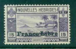 New Hebrides (Fr) 1941 Pictorials, Opt France Libre 15c MLH - French Legend