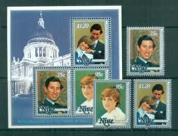Niue 1981 Charles & Diana Royal Wedding + MS MUH Lot81953 - Niue